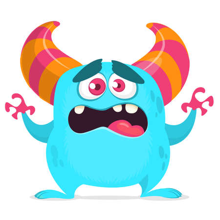 Cute cartoon monster. Vector illustration of yeti or bigfoot. Scared emotion monster face
