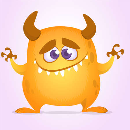Happy cute cartoon monster with horns. Vector orange monster illustration. Halloween character. Design for decoration, print or sticker