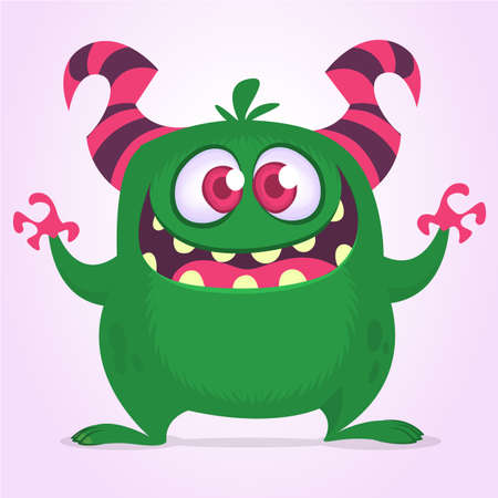 Happy excited cartoon monster. Vector green monster illustration. Halloween design