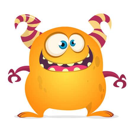 Funny cartoon monster. Vector orange monster troll or goblin illustration. Halloween design