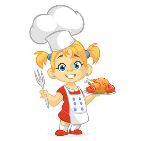 Cartoon girl serving roasted thanksgiving turkey dish. Thanksgiving design
