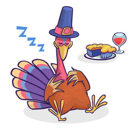 Thanksgiving cartoon turkey character sleeping. Isolated vector illustration clipart