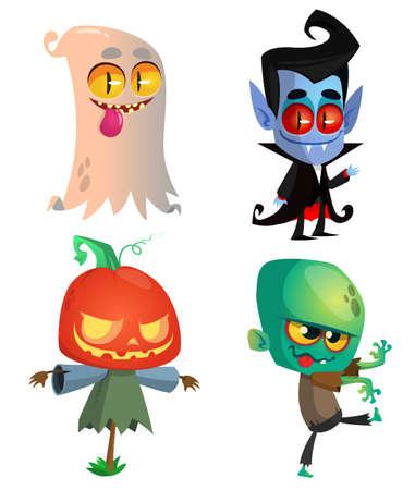 Set of Halloween characters. Vector cartoon ghost, vampire, pumpkin jack o lantern, zombie.  Great for party decoration Ilustração