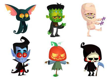 Set Halloween-tekens. Vector mummie, zombie, vampier, vleermuis, dood onverbiddelijke reaper, pompoenhoofd. Geweldig voor feestdecoratie of sticker Vector Illustratie