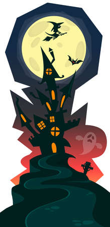 Haunted halloween witch house isolated on white background. Design for print or party decoration