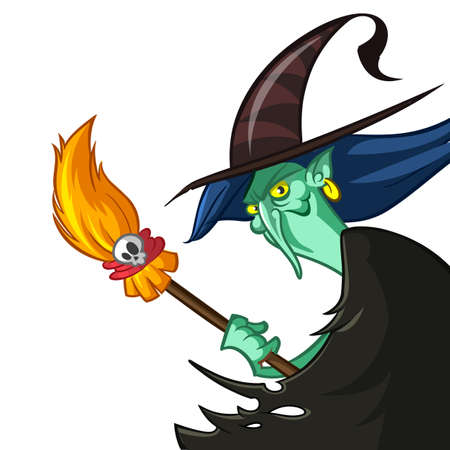 Cartoon witch with cauldron and broom.
