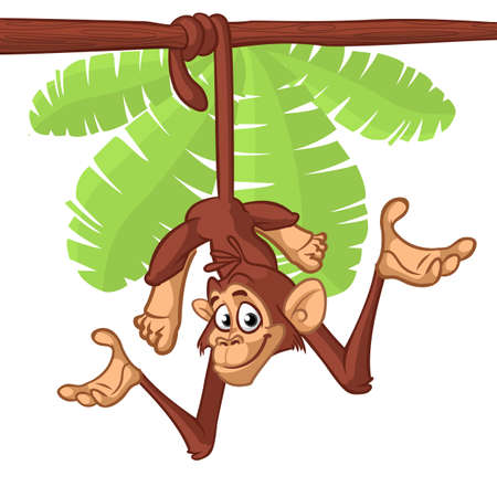 Cute Monkey Chimpanzee Hanging  On Wood Branch. Vector Illustration Cartoon. Outlined
