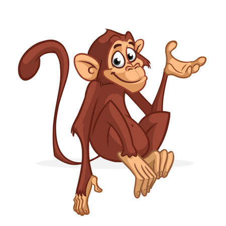 Funny cartoon monkey sitting and presenting. Vector illustration of chimpanzee scratching his head. Stock Illustratie