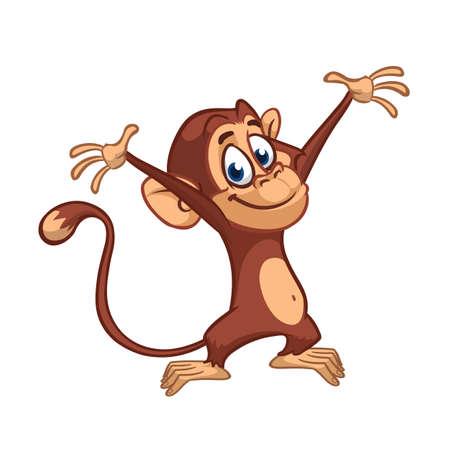 Cute small chimpanzee monkey rise hands. Cartoon illustration