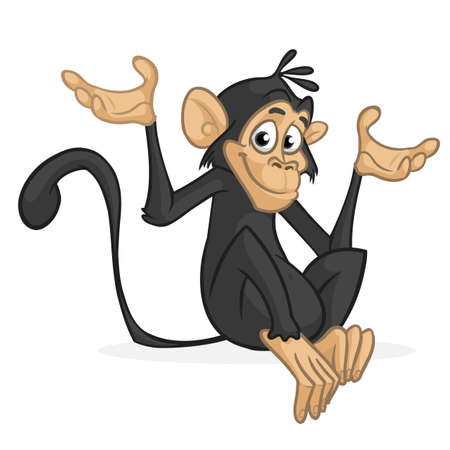 Cartoon monkey icon. Vector illustration of funny chimpanzee character