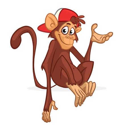 Cute cartoon monkey chimpanzee wearing hat. Vector illustration of a monkey