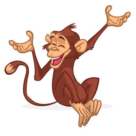 Cute Monkey Chimpanzee Flat Bright Color Simplified Vector Illustration In Fun Cartoon Style Design