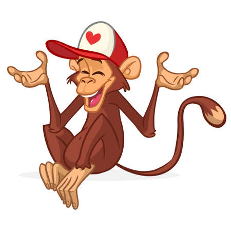 Cartoon funny monkey wearing hat cap and smiling. Vector illustration