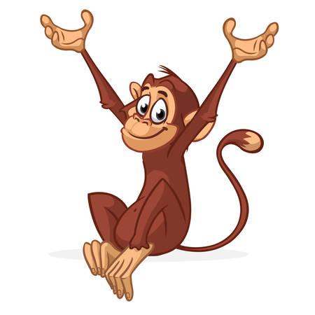 Cute Monkey Chimpanzee Vector Illustration In Fun Cartoon Style Design