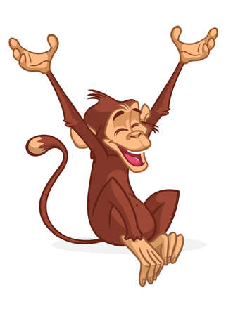 Funny Monkey Vector Illustration In Fun Cartoon Style Design Ilustração
