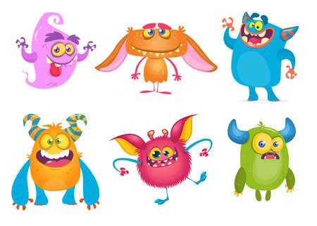 Monstruos de dibujos animados lindo. Vector conjunto de monstruos de dibujos animados: fantasma, duende, yeti bigfoot, troll y alien. Personajes de Halloween aislados