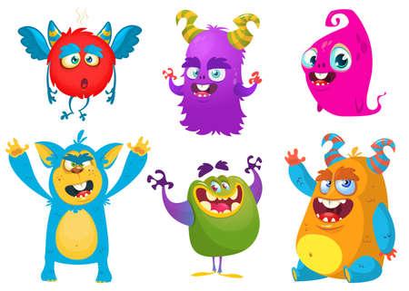 Cartoon Monsters. Vector set of cartoon monsters isolated. Design for print, party decoration, t-shirt, illustration, logo, emblem or sticker Illustration