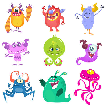 Cartoon Monsters. Vector set of cartoon monsters isolated. Design for print, party decoration, t-shirt, illustration, logo, emblem or sticker Ilustração