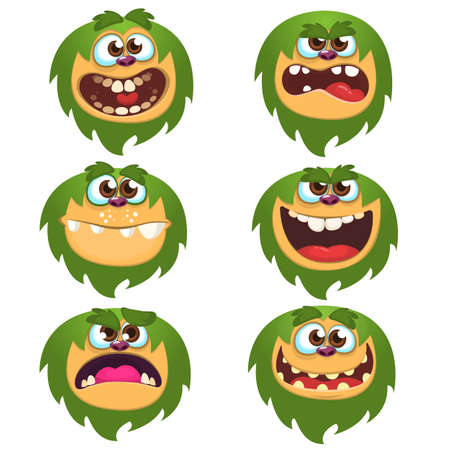 Cartoon Monsters set for Halloween. Vector set of cartoon monsters isolated. Design for print, party decoration, t-shirt, illustration, emblem or sticker