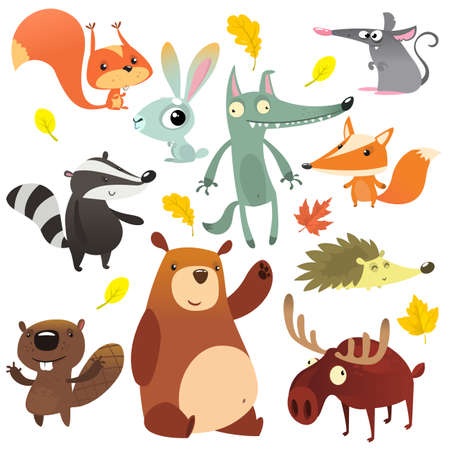 Cartoon forest animal characters. Wild cartoon cute animals collections vector. Big set of cartoon forest animals flat vector illustration. Squirrel, mouse, badger, wolf, fox, beaver, bear, moose Ilustração