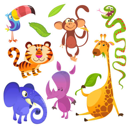 Cartoon tropical animal characters. Wild cartoon cute animals collections vector. Big set of cartoon jungle animals flat vector illustration. Toucan, monkey, tiger, snake, elephant, rhino, giraffe
