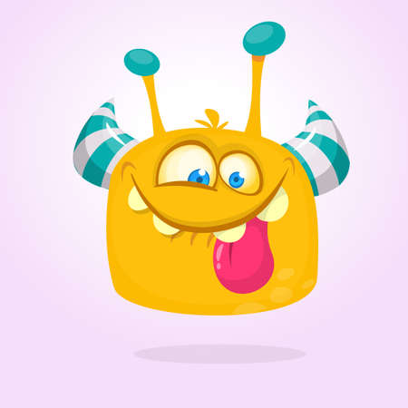 Cartoon yellow furry monster. Halloween vector illustration of excited monster
