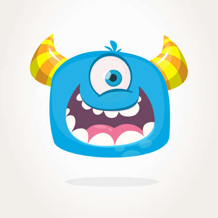 Cute cartoon monster with horns with one eye. Smiling monster emotion with big mouth. Halloween vector illustration Vector Illustration