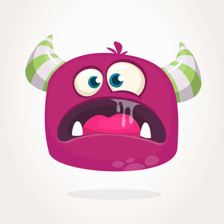 Angry cartoon monster with horns. Big collection of cute monsters. Halloween character. Vector illustrations. Good for book illustration, magazine prints or journal article Иллюстрация