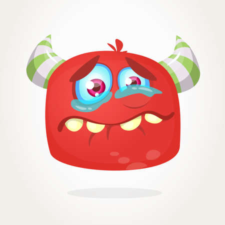 Cute cartoon monster with horns . Crying monster emotion. Halloween vector illustration