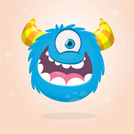 Cute cartoon monster  with horns with one eye. Smiling monster emotion with big mouth. Halloween vector illustration Standard-Bild - 118955242
