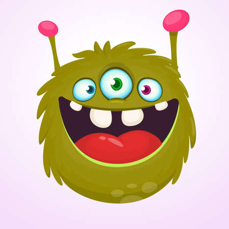 Happy green cartoon horned monster alien with three eyes. Smiling monster emotion showing his tongue. Halloween vector illustration Stock Illustratie