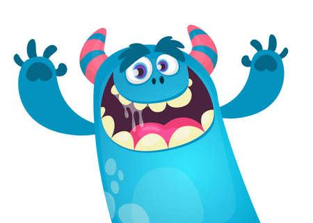 Happy cartoon monster. Vector Halloween blue furry monster yeti or bigfoot waving hands Illustration