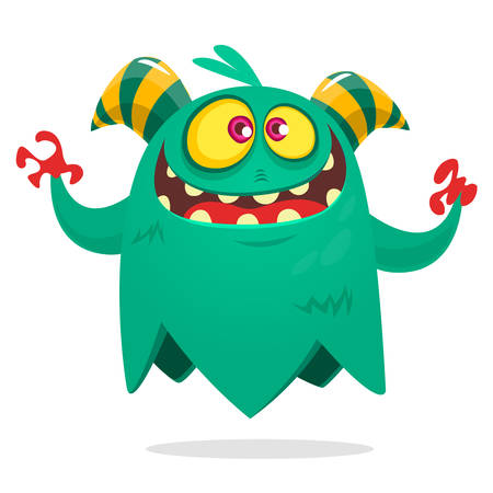 Funny cartoon monster flying. Cool cartoon character for children party decoration or sticker print