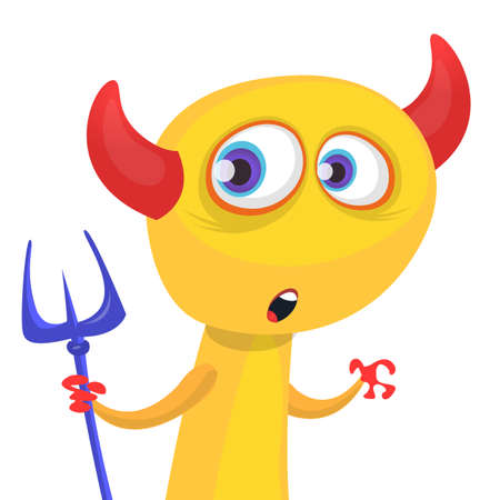 Funny cartoon devil with trident. Vector clipart Illustration