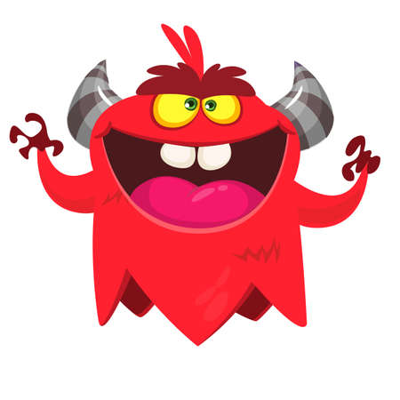 Angry cartoon monster. Vector Halloween monster character.