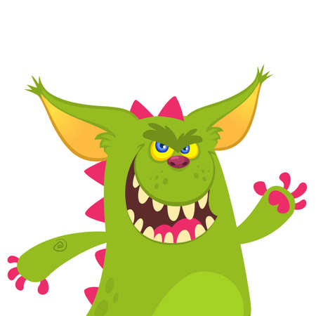 Cartoon dragon character waving. Vector illustration Illustration