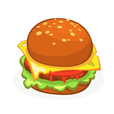Cartoon Cheeseburger or Hamburger icon. Hamburger vector illustration isolated