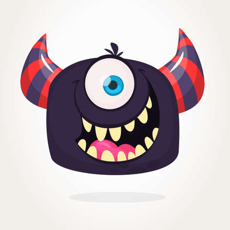 Angry cartoon monster. Angry black monster emotion. Halloween vector illustration. Big set of carton monsters clipart Иллюстрация
