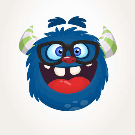 Cartoon blue monster nerd wearing glasses. Vector illustration isolated