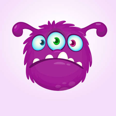 Funny violet green cartoon alien with three eyes. Monster emotion showing his tongue. Halloween vector illustration