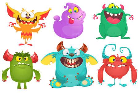 Cartoon Monsters-collectie. Vector set cartoon monsters geïsoleerd. Ontwerp voor print, feestdecoratie, t-shirt, illustratie, logo, embleem of sticker