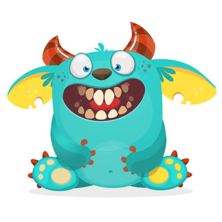 Happy cartoon monster. Vector Halloween blue furry monster character sitting Illustration
