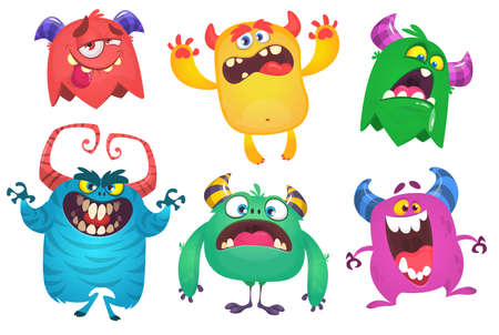 Cartoon Monsters. Vector set of cartoon monsters isolated. Design for print, party decoration, t-shirt, illustration, logo, emblem or sticker Vectores