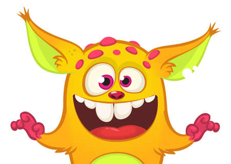 Happy cartoon orange monster. Halloween vector illustration of excited troll or gremlin character. Big set of cartoon monsters