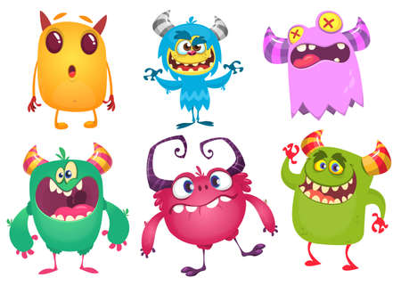 Cartoon Monsters. Vector set of cartoon monsters isolated. Design for print, party decoration, t-shirt, illustration, logo, emblem or sticker Stock Illustratie