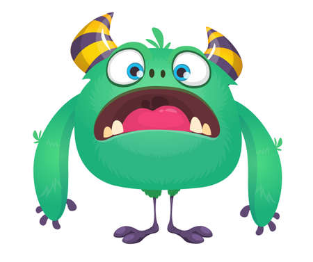 Funny cartoon monster with horns and tiny legs. Vector character