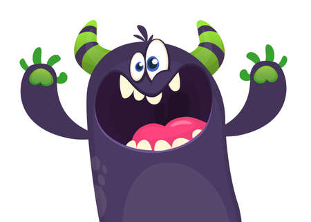 Funny excited monster singing or talking. Vector illustration