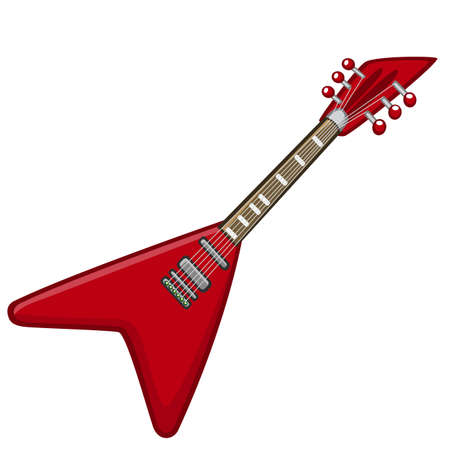 Electric guitar cartoon. Vector illustration of metal or rock-n-roll electro guitar. Isolated