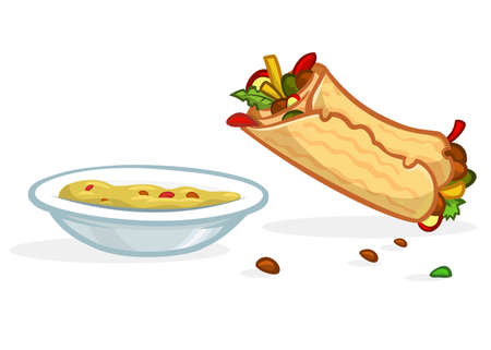 Cartoon falafel roll, plate with hummus. Street food icons. Vector illustration isolated Foto de archivo - 119840285