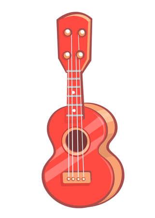 Cartoon ukulele illustration. Vector icon of ukulele isolated